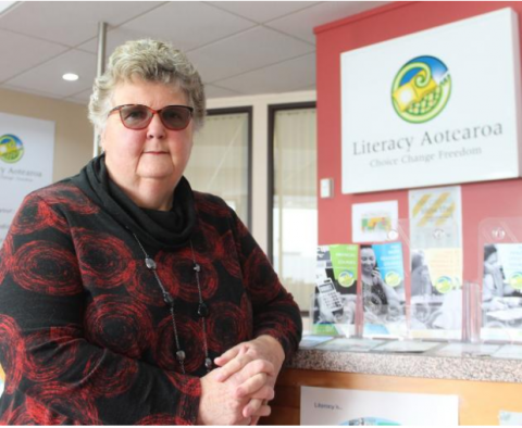 Literacy Aotearoa Charitable Trust manager Nellie Garthwaite, of Invercargill, is retiring after 24 years Photo: Abbey Palmer